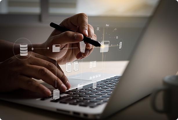 it-working-computer-business-processes-document-management-system-dms-progress-planning-chart
